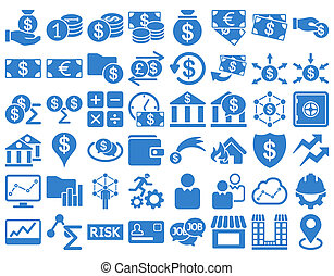 Business Icon Set. These flat icons use cobalt color. Raster...