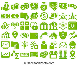 Business Icon Set. These flat icons use eco green color....