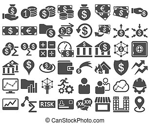 Business Icon Set. These flat icons use gray color. Raster...
