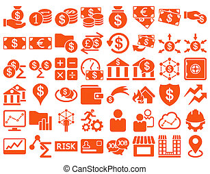 Business Icon Set. These flat icons use orange color. Raster...