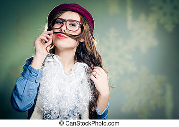 funny hipster lady in super size eyeglasses wearing santa...