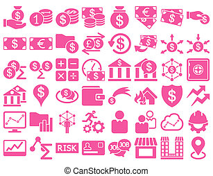 Business Icon Set. These flat icons use pink color. Raster...