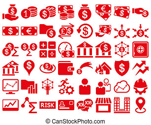 Business Icon Set. These flat icons use red color. Raster...