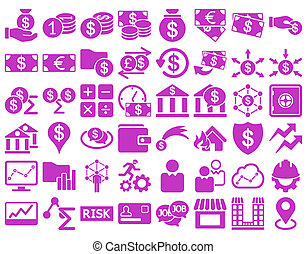Business Icon Set. These flat icons use violet color. Raster...