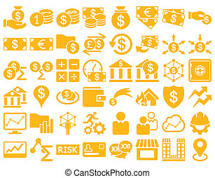 Business Icon Set. These flat icons use yellow color. Raster...