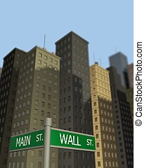 Wall St. Main St. - Street signs pointing to Wall St. and...