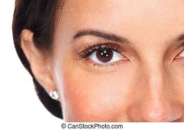 Beautiful young woman eyes. - Beautiful young woman eyes...