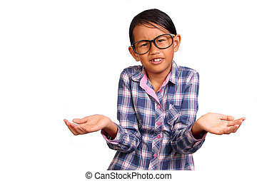 Little Girl with Shrug Gesture - Little girl with glasses...