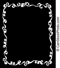 Frame of White Ribbons and Bows on Black