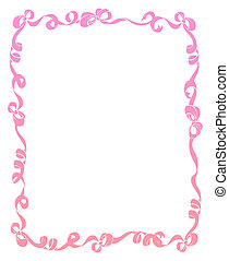 Frame of Pink Ribbons and Bows