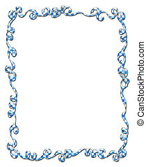 Frame of Blue Checked Ribbons and Bows