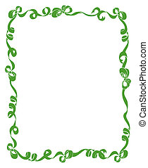 Frame of Green Ribbons and Bows