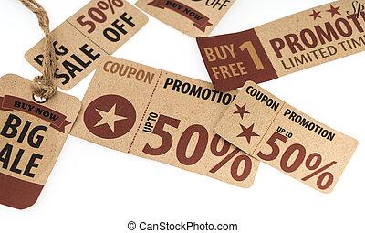 Sale Coupon, voucher, tag. Vintage Style