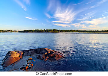 View of the village of Pongoma summer evening. Karelia,...