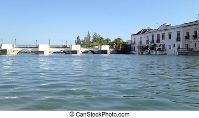 Old roman bridge of the old town Tavira in the south of...