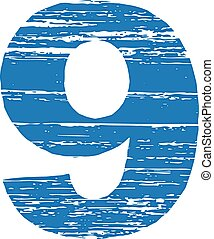 Grunge Logo Number 9 Scrape Style