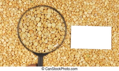 Magnifying glass increases the peas grains and business card...