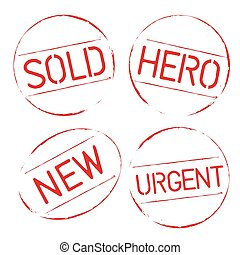 Red vector grunge stamps SOLD, HERO, URGENT, NEW
