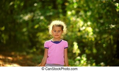 Portrait teen girl throws yellow leaves of autumn fall large...