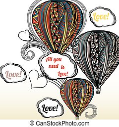 All you need is love Air balloon with hippi style ornament...