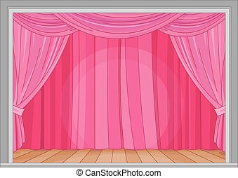 Stage - Illustration of stage with red curtain