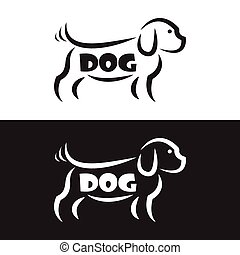 Vector image of an dog design on black background and white...