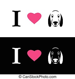 I love dogs symbolic message on white background and black...