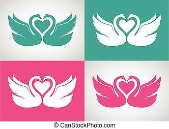 Conjunto, imagen, dos,  vector, diseño, cisnes, amoroso