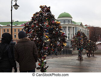 Metal Trees of Love with locks Moscow Russia - These are the...
