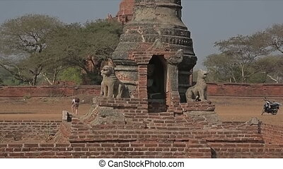 Ancient stupa in Old Bagan - Ancient stupa in the field in...