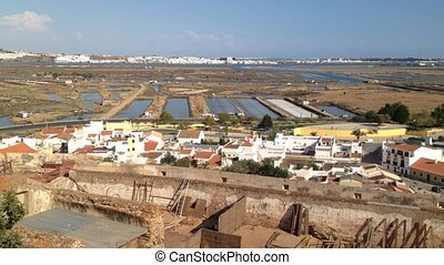 Overview for the salt pans of Castro Marim in Algarve and...