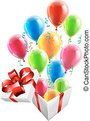 Gift Party Ballons and Streamers Co - Gift box with party...