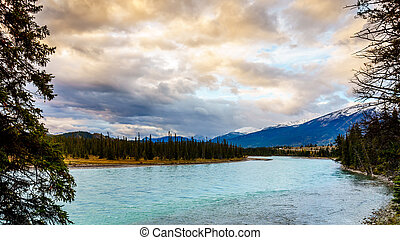 Daybreak over the Athabasca River near the town of Jasper in...