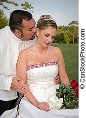 Romantic Bride and Groom - Romantic bride and groom share a...