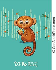 New Year card with Monkey for year 2016 - Vector...