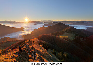 Slovakia mountain peak Osnica at sunrise - autumn panorama