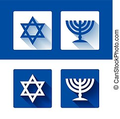 Star of David and menorah icons