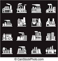 Set of industrial manufactory buildings icons set. Plant and...