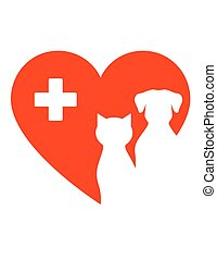icon with pet heart and cross - icon with pet, red heart and...