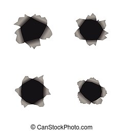Hole set - Bullet hole set on the white paper or wall