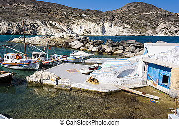 Mandrakia traditional Greek village with sirmate - fish...