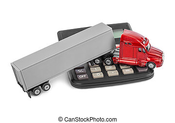 Calculator and toy truck car