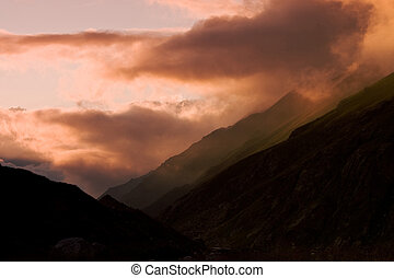 Sunset in Caucas Mountains