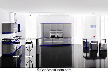 Interior of modern kitchen with bar table and stools 3d