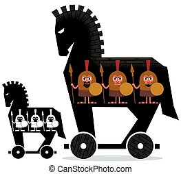Trojan Horse - Cartoon Trojan horse with Greek soldiers in...