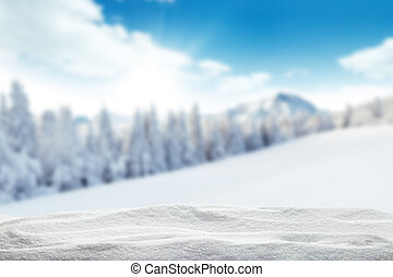 Winter snowy background - Winter background with pile of...