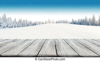 Winter snowy background with wooden planks - Winter...