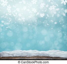 Winter abstract background with wooden planks - Winter...