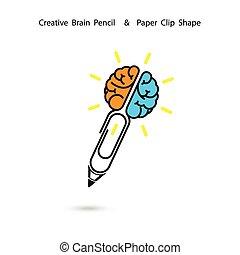 LÁPIS, sinal, conceito, clip, Inspiração, negócio, conceito,...