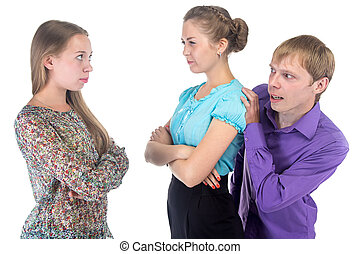 Cowardly man and two women on white background